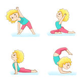四个瑜伽姿势 免版税库存照片
