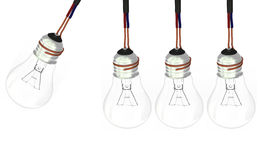 四个电灯泡 库存照片