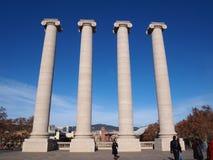 四个白色专栏, Montjuic,巴塞罗那 免版税图库摄影