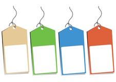 四个空白吊标签 库存图片