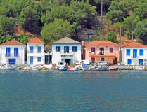 四个空白和一个桃红色房子 免版税库存照片