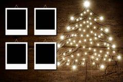 四个空的照片框架,圣诞节土气卡片 免版税图库摄影
