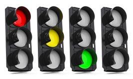 四个红绿灯 库存图片