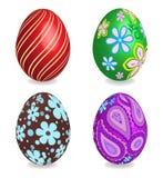 四个美丽的被绘的复活节彩蛋。 免版税库存照片
