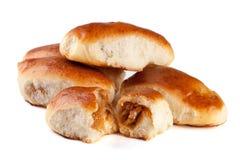 四个自创饼用在白色背景隔绝的圆白菜 库存图片