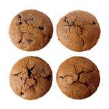 四个自由面筋查出的松饼 免版税库存照片