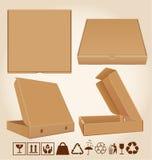 四个薄饼箱子用不同的位置 库存照片