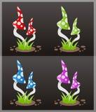 四个蘑菇毒害向量 免版税库存图片