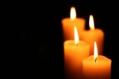 四个蜡烛在台阶  免版税库存照片