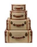 四个被堆积的Deco粗麻布手提箱 库存图片