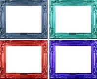 四个被雕刻的框架 免版税库存照片