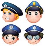 四个警察头  库存图片