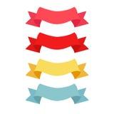 四个颜色丝带样式 库存图片