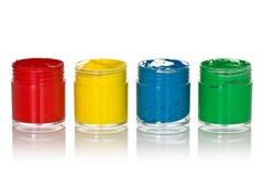 四个颜色树胶水彩画颜料 库存照片