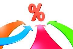 四个颜色箭头去往百分率符号, 3D翻译 免版税库存图片