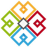 四个颜色苜蓿叶形立交路口 图库摄影