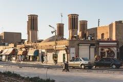 四个风塔供气的储水池在亚兹德,伊朗 免版税库存图片