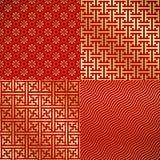 四中国人葡萄酒无缝的锦缎墙纸 免版税库存图片