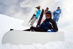 四乐趣snowborders 免版税库存照片