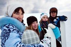四乐趣snowborders 库存照片