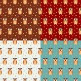 四五颜六色的猫头鹰无缝的样式 库存例证