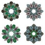 四件装饰品圆的花卉样式 库存图片