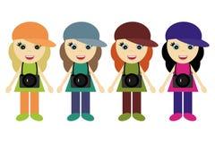 四位女孩摄影师 库存例证