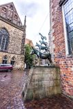 四位布里曼音乐家的著名雕象 库存图片