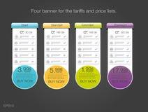 四关税和价格表的横幅 abstrat要素例证万维网 计划主持 库存照片