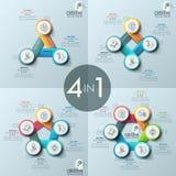 四创造性的infographic设计版面,与3, 4, 5, 6个圆的被编号的元素的图的汇集 库存例证