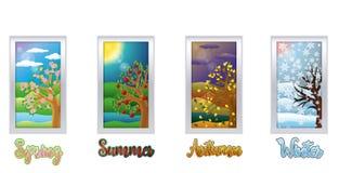 四副季节窗口横幅,传染媒介 库存照片