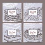 四副意大利烹调横幅用薄饼,烤宽面条,提拉米苏,意粉 皇族释放例证