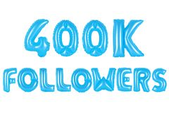 四十万个追随者,蓝色颜色 免版税库存照片