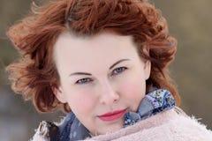 四十年的红发妇女的画象 图库摄影
