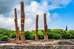 四参天的tiki在Poipu,考艾岛,夏威夷 免版税图库摄影