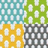 四只五颜六色的绵羊无缝的样式 免版税库存图片
