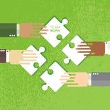 四只手一起合作工作 向量例证