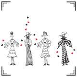 四名滑稽的形状的妇女 免版税库存图片