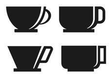 四咖啡杯剪影 图库摄影