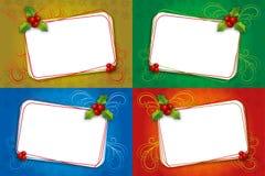 四圣诞卡与槲寄生的空白框架 库存图片