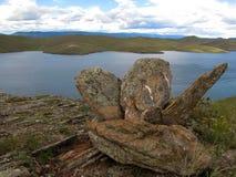 四块平的石头 库存照片