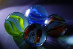 四块玻璃大理石球 库存图片