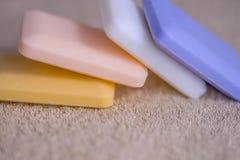 四块肥皂在毛巾的 免版税库存照片
