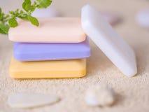 四块肥皂在毛巾的 免版税图库摄影