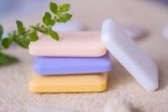 四块肥皂在毛巾的 库存照片