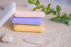 四块肥皂在毛巾的 图库摄影