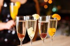 四块玻璃有很多香槟 库存图片