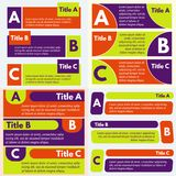 四套infographic设计的三个元素 免版税库存图片