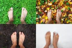 四季光秃的人脚站立在绿草,冬天雪,秋叶,春天地面,顶视图,拷贝空间的夏天 免版税图库摄影