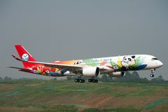 四川航空公司`第1空中客车A350 XWB 库存图片